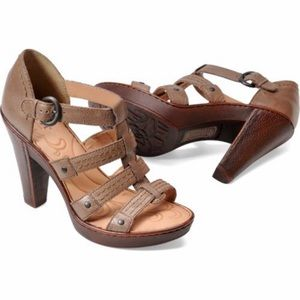 Born Felice Taupe Leather Strappy Sandal Heels